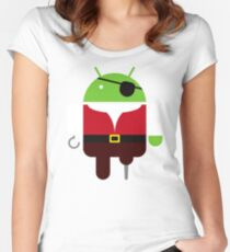 Pirate BugDroid Women's Fitted Scoop T-Shirt