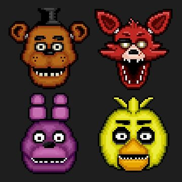 Five Nights at Freddy's 1 - Pixel art - The Classic 4 by GEEKsomniac
