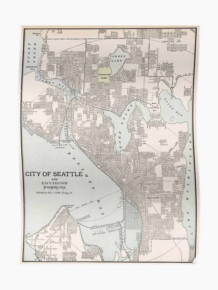 Vintage Map of Seattle Washington (1901) | Poster