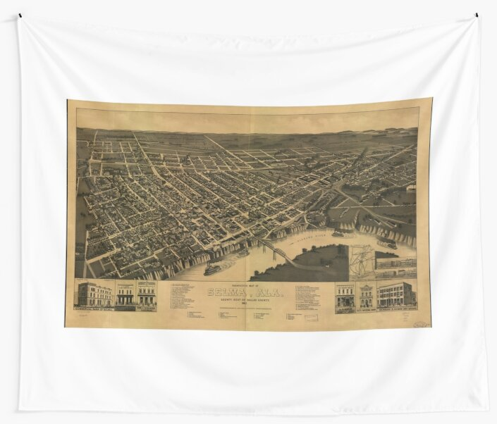 Vintage Pictorial Map of Selma Alabama (1887)\