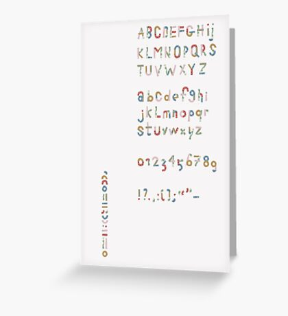 Alphabet in pieces of pattern paper Greeting Card