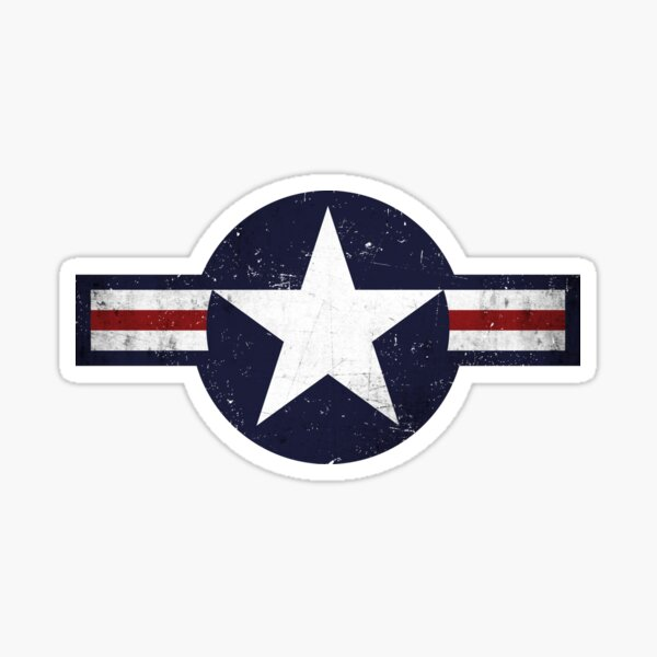 Roundel of the USAF distressed Sticker