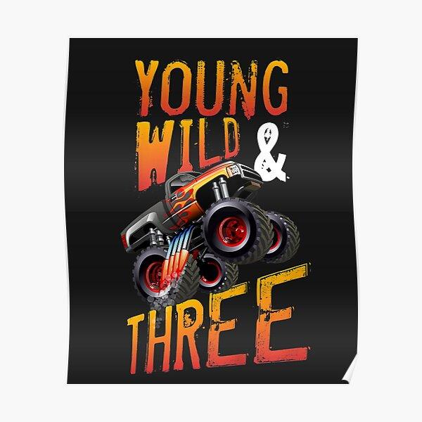 Kids 3rd Birthday Boy Monster Truck Rule JAM Three Years Poster