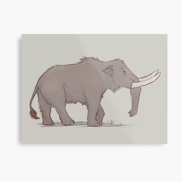 Monochrome Mastodon Metal Print
