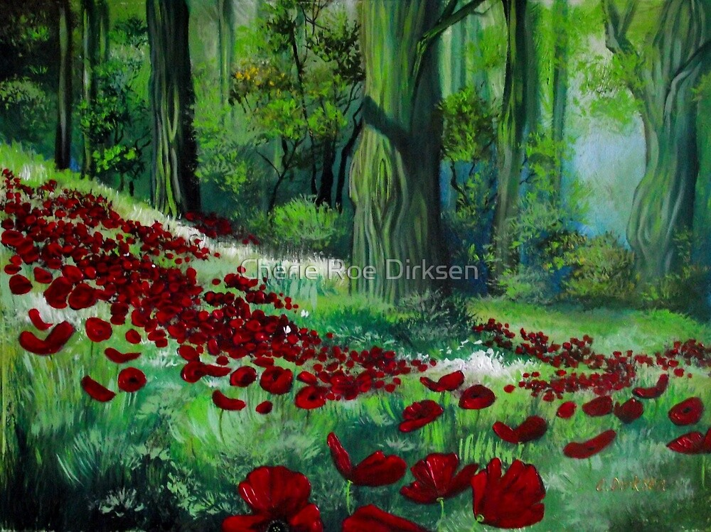 Red Poppies in the Forest by Cherie Roe Dirksen