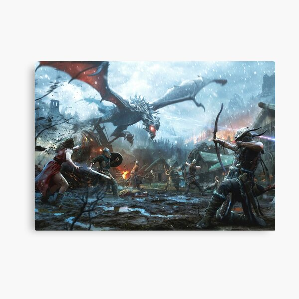 Skyrim- Dragon Battle Canvas Print