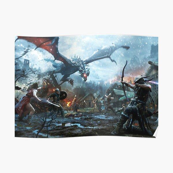 Skyrim- Dragon Battle Poster