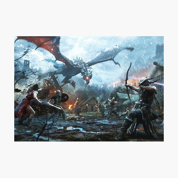 Skyrim- Dragon Battle Photographic Print
