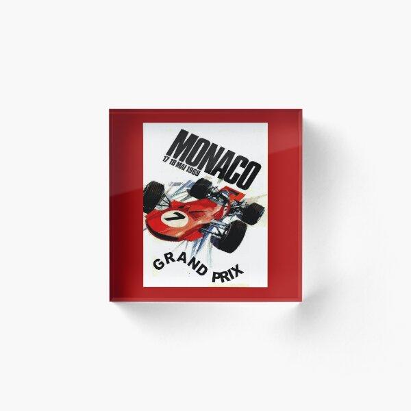 MONACO : Vintage 1969 Grand Prix Auto Racing Print Acrylic Block