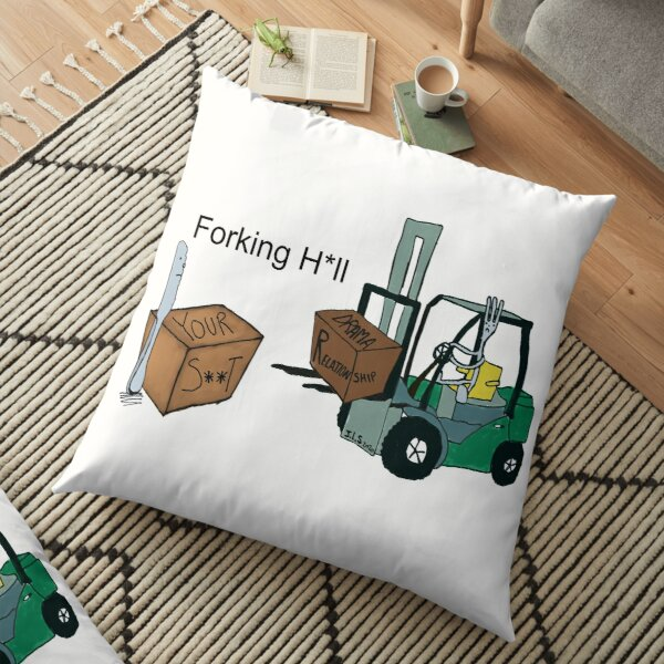 A Fork Forklifting all the Drama in the Relationship  Floor Pillow
