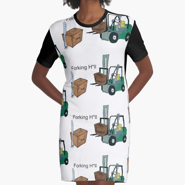 A Fork Forklifting all the Drama in the Relationship  Graphic T-Shirt Dress