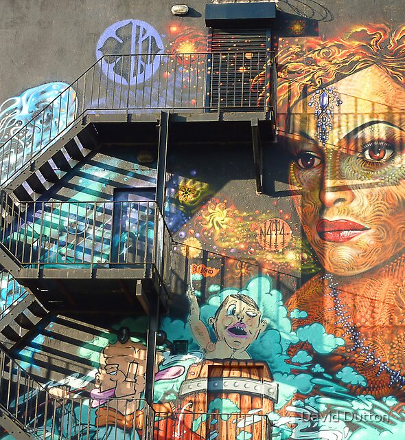 Face and Staircase. Northern Quarter. Manchester. England. by David Dutton