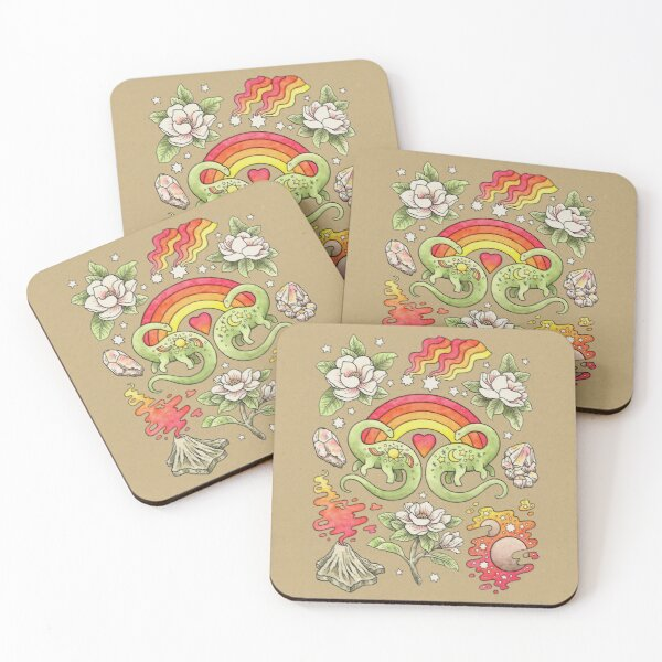 Love You Till Extinction | Dinosaur Watercolor Art Coasters (Set of 4)