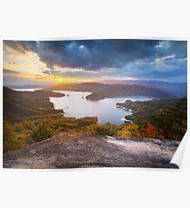 Blue Ridge Mountains Sunset - Jocassee Gold Poster