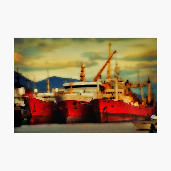 Red Ships at Ushuaia Photographic Print