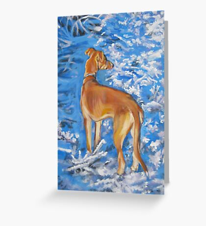 Whippet Fine Art Painting Greeting Card
