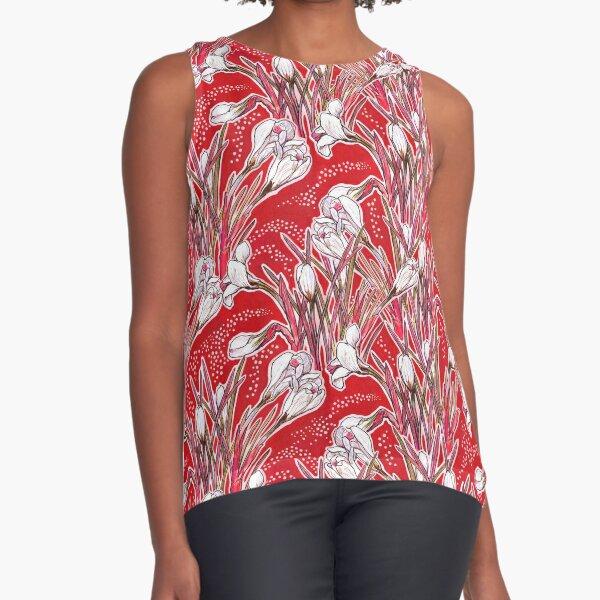 White Crocuses, Spring Garden Flowers, Botanical Floral Pattern, Scarlet Red Sleeveless Top