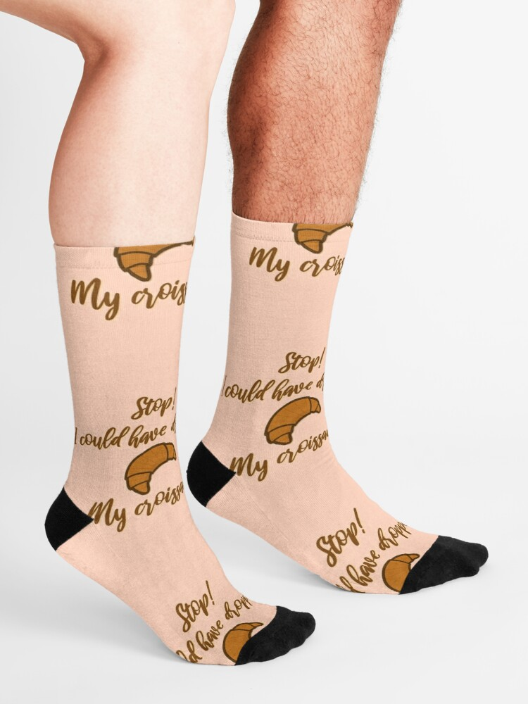 Alternate view of Stop! I could've dropped my croissant! - Vine Design Socks