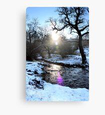 Lens Flare Snowy Brook, Gnat Hole, Glossop Canvas Print