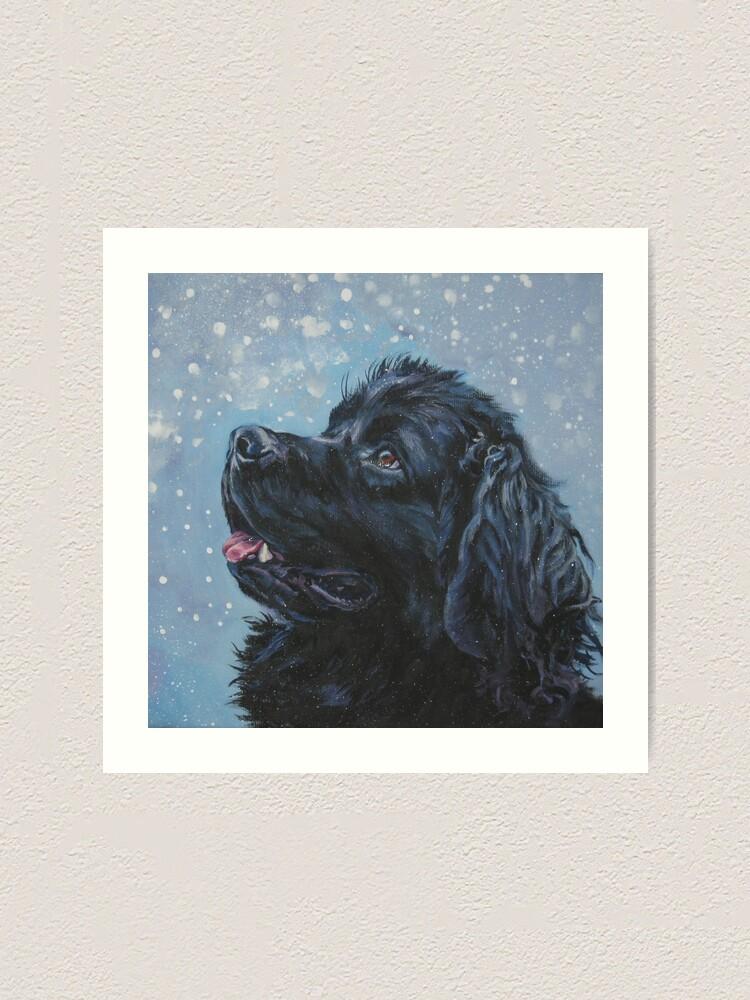 Alternate view of Newfoundland Dog Fine Art Painting Art Print