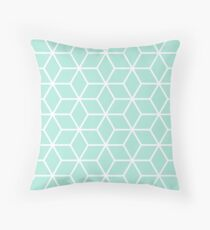Mint Interlocked hexagon lattice Throw Pillow