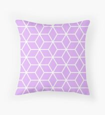 Lilac Interlocked hexagon lattice Throw Pillow