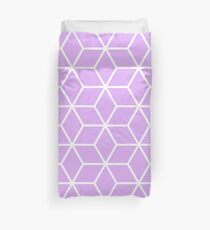 Lilac Interlocked hexagon lattice Duvet Cover