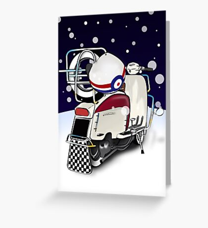 Mod Scooter Lambretta Christmas Card Greeting Card