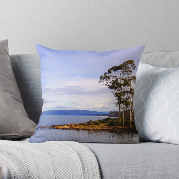Trees by the coast Throw Pillow