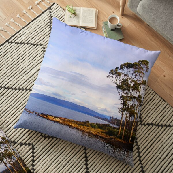 Trees by the coast Floor Pillow