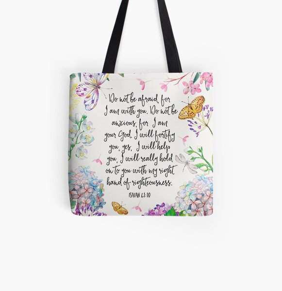 Isaiah 41:10 (Flowers and Butterflies) All Over Print Tote Bag