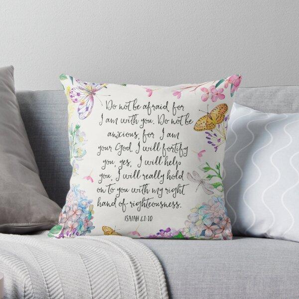 Isaiah 41:10 (Flowers and Butterflies) Throw Pillow
