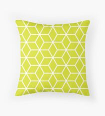 Chartreuse Interlocked hexagon lattice Throw Pillow