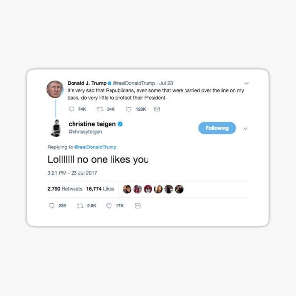 Chrissy Teigen vs. Donald Trump Sticker