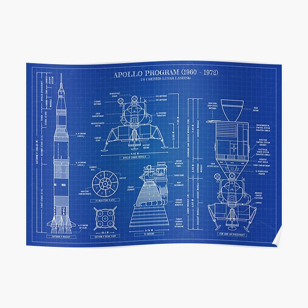 Apollo Program (1960 - 1972) Blueprint - English Poster