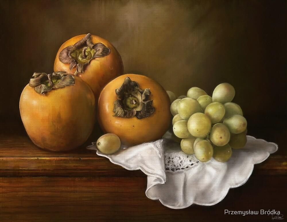 Classic Still Life with Persimmons and Grape by Przemysław Bródka