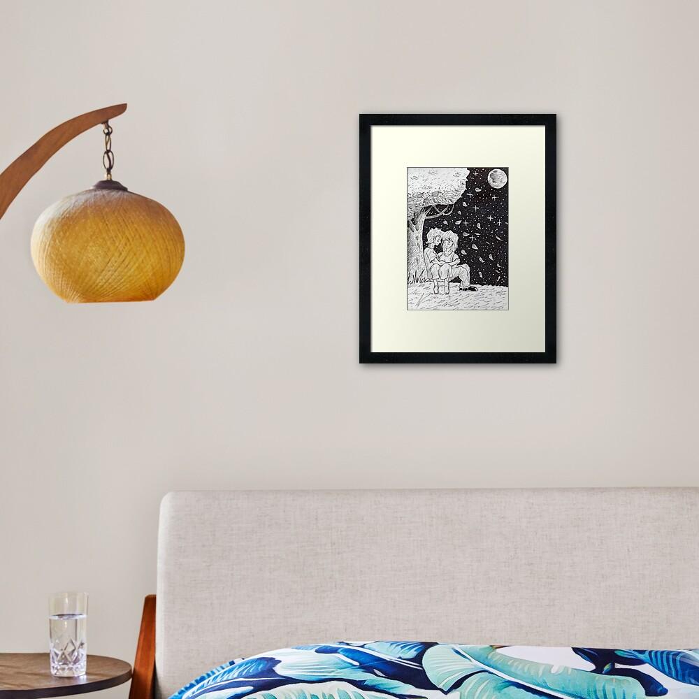 Sketch romantic Framed Art Print