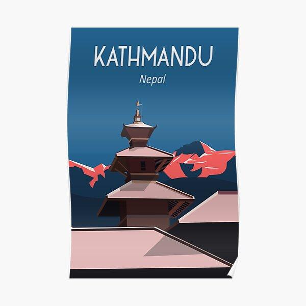 Népal Katmandou Everest Travel Poster Print Art Culture Poster