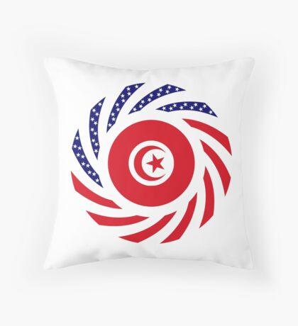 Tunisian American Multinational Patriot Flag Series Throw Pillow