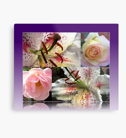 Roses and Lilies Collage in Reflection Frame Metallbild