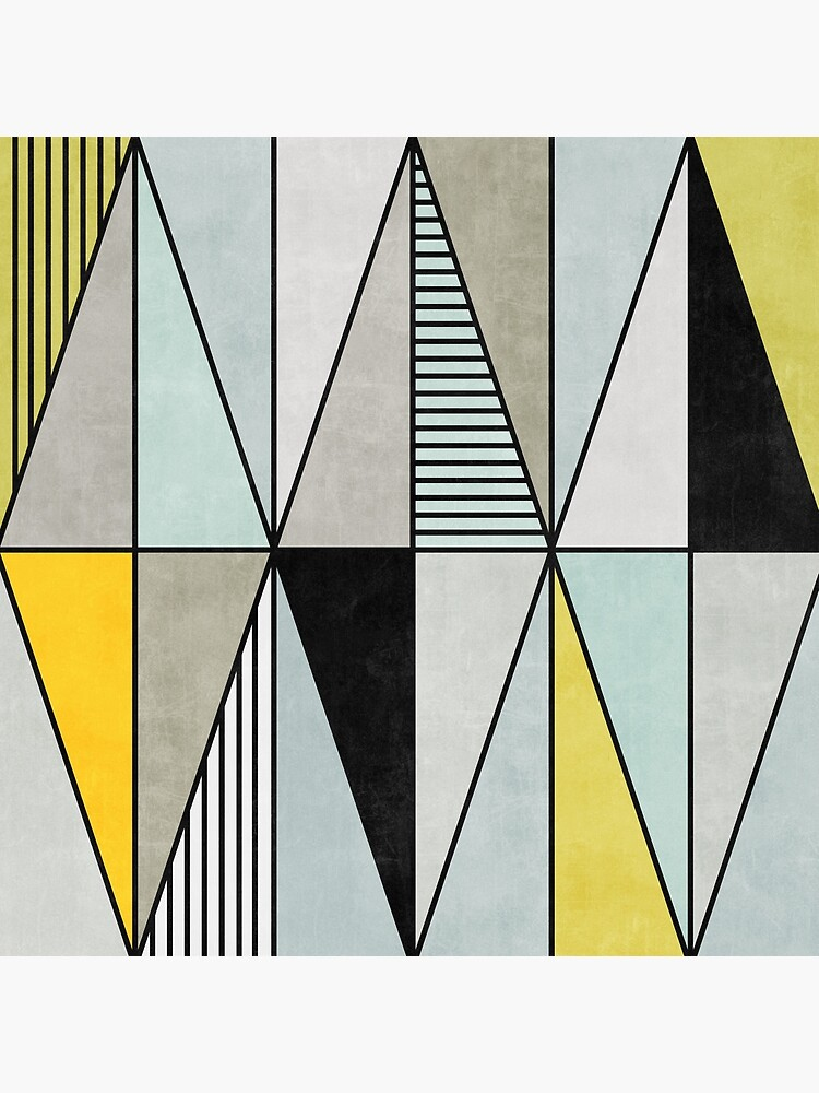 Colorful Concrete Triangles - Yellow, Blue, Grey by ZoltanRatko