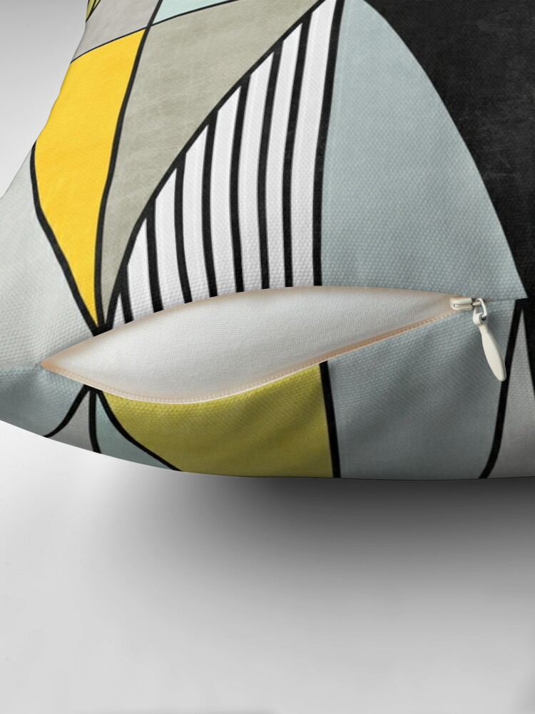 Alternate view of Colorful Concrete Triangles - Yellow, Blue, Grey Throw Pillow