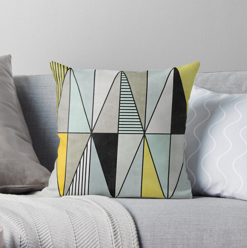 Colorful Concrete Triangles - Yellow, Blue, Grey Throw Pillow