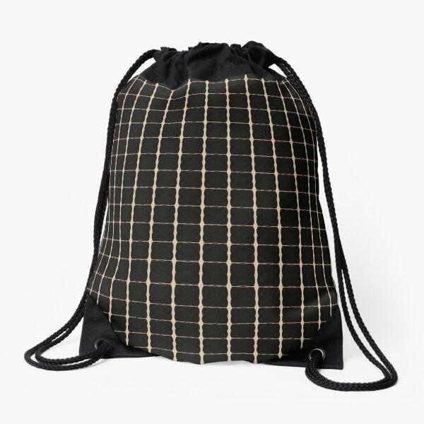 black grid  Drawstring Bag