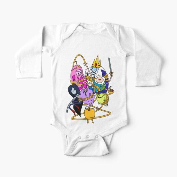 Princess Bubblegum, Marceline, Ice King, Lumpy Space Princess, Tree Trunks ,Finn und Jake Long Sleeve Baby One-Piece