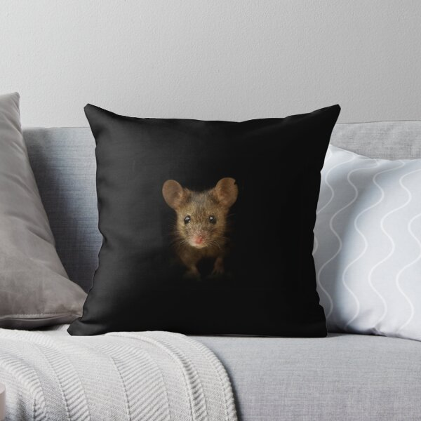 George the mouse in a log pile House art black background  Throw Pillow