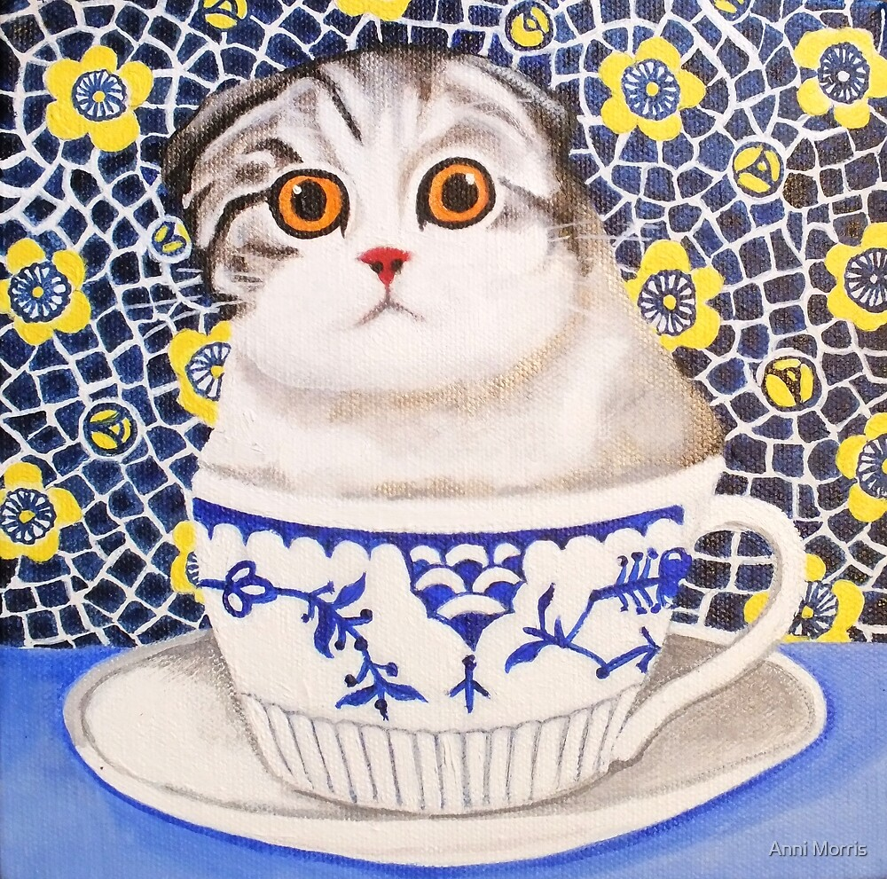 Kitten in Cup - Scottish Fold by Anni Morris