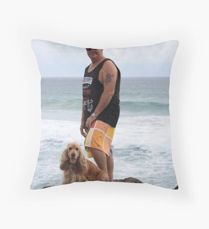 An Aussie Bloke & His Companion Dog Throw Pillow