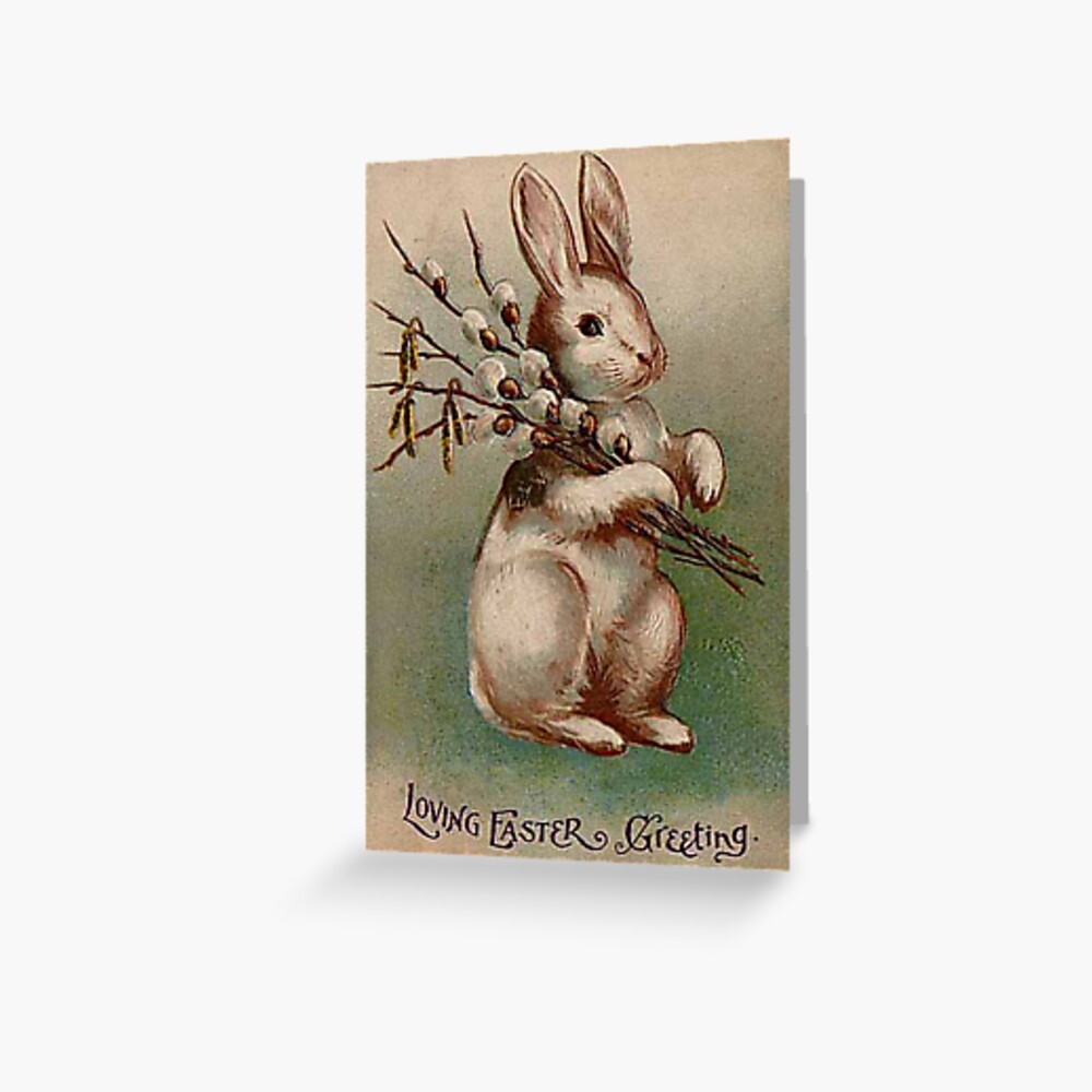 Folding Card-Gift Card-Greeting Card-Vintage-Retro-Shabby French-Easter-Bunny 10059