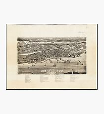 Vintage Pictorial Map of St. Augustine FL (1885) Photographic Print